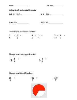 Fraction Study Guide (2 pages) Fraction Test (2 pages)