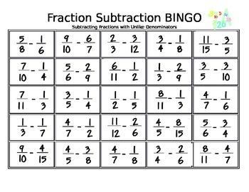 Fraction Subtraction BINGO