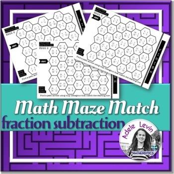 Fraction Subtraction (MATH MAZE MATCH)
