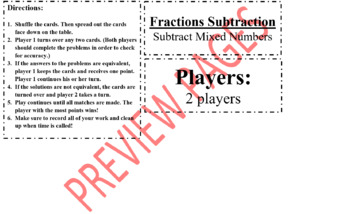 Fraction Subtraction - Subtract Mixed Numbers
