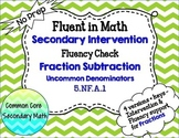 Fraction Subtraction Uncommon Denominators : RTI Intervention No Prep Fluency