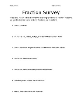 Fraction Survey for Students to Interview Adults