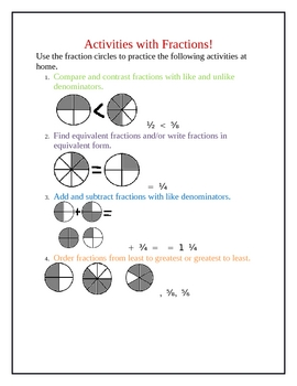 Fraction Take Home Activities