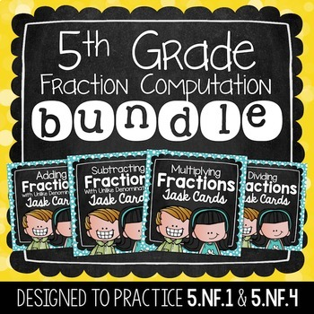 Fraction Task Card Bundle | 5th Grade
