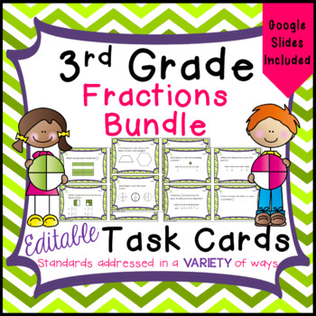3rd Grade Fractions - Task Card Bundle for Math Common Core - 3.NF.1 - 3.NF.3