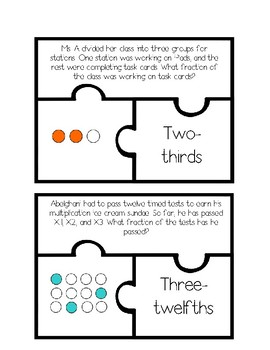 Fraction Task Card Puzzles