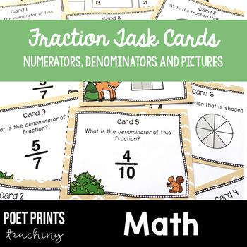 Fraction Task Cards Math Center Activity