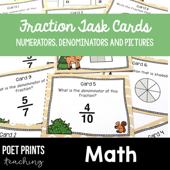Fraction Task Cards, Math Center Activity