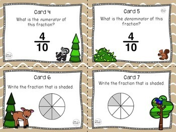 Simple Fractions Task Cards, Third Grade
