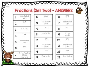 Fraction Task Cards, Math Center