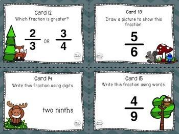 Writing Fractions, Third Grade Math Center