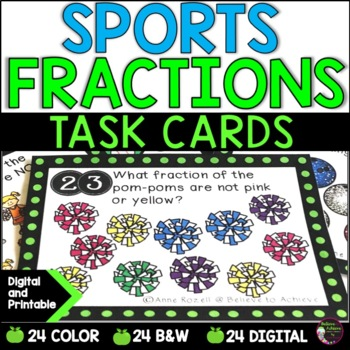 Fraction Task Cards-24 cards (Fractions-Parts of a Set- Sp