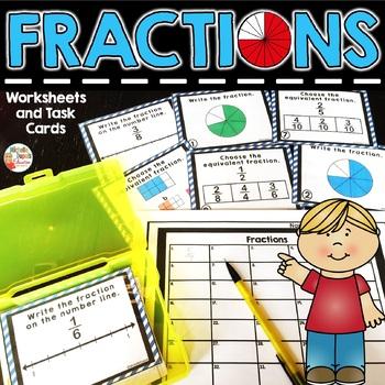Fraction Task Cards - 2nd grade - 3rd grade - 4th grade