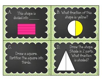 Fraction Task Cards 2.G.3