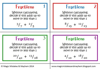 Fraction Task Cards. 32 Cards for ordering, estimating and comparing fractions