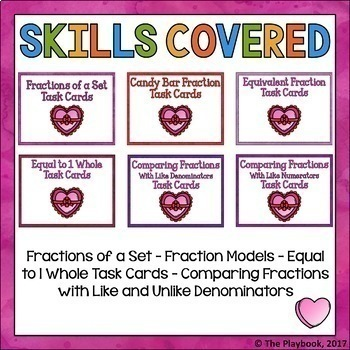 Fraction Task Cards (3rd Grade) Valentine's Day Edition