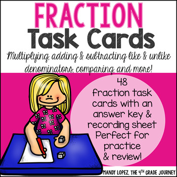 Fraction Task Cards {48 Cards for Adding, Subtracting, Mul