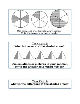Fraction Task Cards 4NF3 and 4NF4