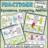 Visual Fractions Task cards, print, digital, equivalent fr
