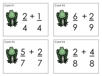 Fraction Task Cards - Add and Subtract Like and Unlike Denominators (Frog)