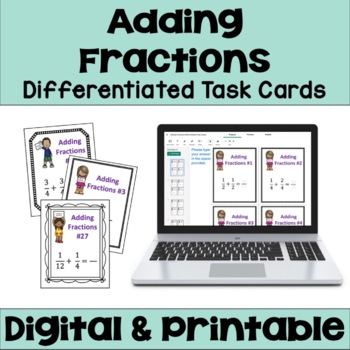Adding Fractions Task Cards (3 Levels)
