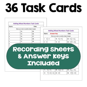 Adding Mixed Numbers Task Cards (Differentiated with 3 Levels)