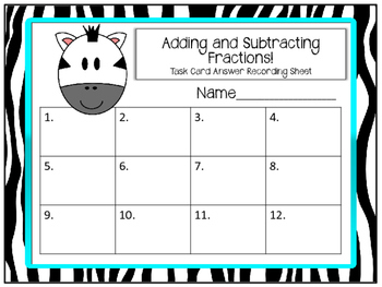 Fraction Task Cards. Adding and Subtracting Simple Fractions. Beginner
