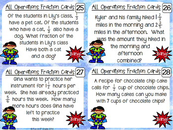 Fractions All Operation Task Cards & Game