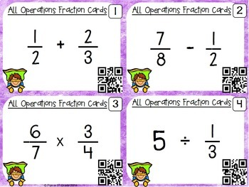 Fractions All Operation Task Cards & Game with QR Codes