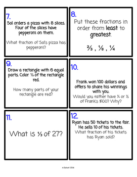 Fraction Task Cards {Common Core Aligned}