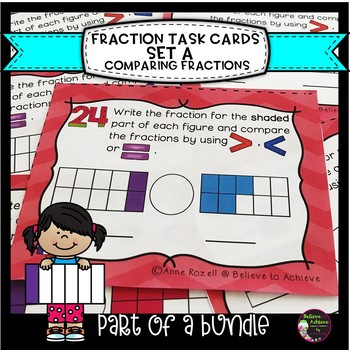 Comparing Fractions Task Cards (Set A)
