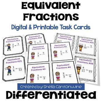 Equivalent Fractions Task Cards (3 Levels)