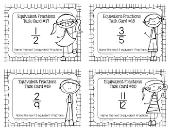 Fraction Task Cards Equivalent Fractions