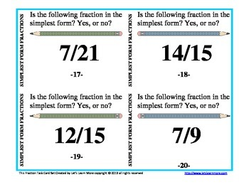 Task Cards: Equivalent Fractions, Simplest Form Fractions