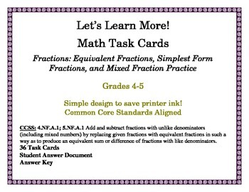 Fraction Task Cards: Equivalent Fractions, Simplest Form F