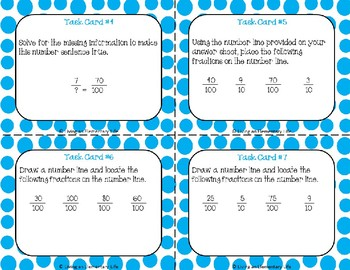 Fraction Task Cards Fourth Grade:  Denominators of Tenths and Hundredths