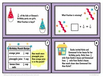 Fraction Task Cards - Like Denominators