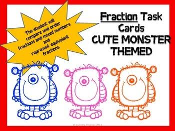 Fraction Task Cards--MONSTER THEMED