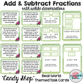Fraction Word Problems Task Cards Mega Bundle