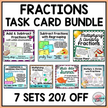 Fraction Word Problems Task Cards Mega Bundle