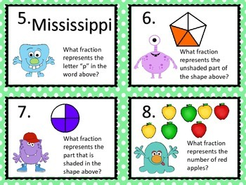Fraction Task Cards--Monster Theme