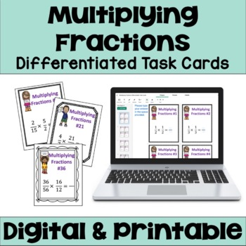 Multiplying Fractions Task Cards (Differentiated)