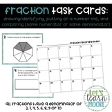 Fraction Task Cards | Naming, Identifying on Number Line, Comparing