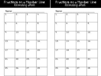 Fraction Task Cards: On a Number Line