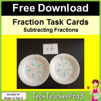 Fraction Task Cards Pack 2 - Subtraction Free Download