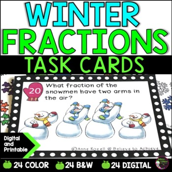 Fraction Task Cards (Parts of a Set- Winter)