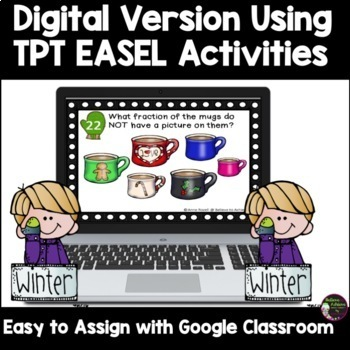 Fraction Task Cards (Parts of a Set) Winter