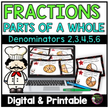 Fraction Task Cards- (Parts of a Whole) Circle Pizza Theme