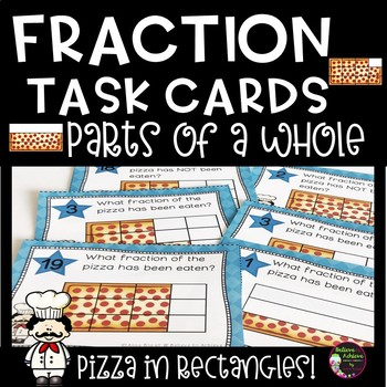 Fraction Task Cards- (Parts of a Whole) Rectangle Pizza Theme