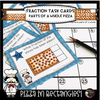 Fraction Task Cards- (Parts of a Whole) Rectangle Pizza Theme **TPT for Schools*